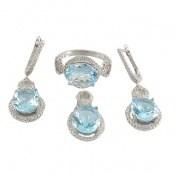سرویس توپاز آبی درشت طرح جواهر زنانه