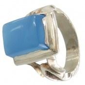 انگشتر عقیق آبی برزیلی چهارگوش مردانه