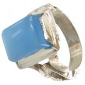 انگشتر عقیق برزیلی آبی مردانه