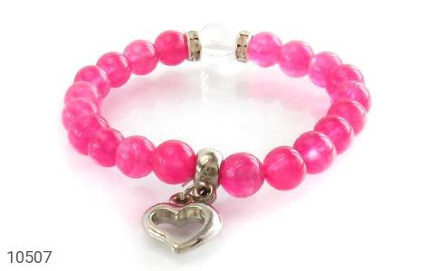 دستبند جید صورتی آویز قلب زنانه - تصویر 2