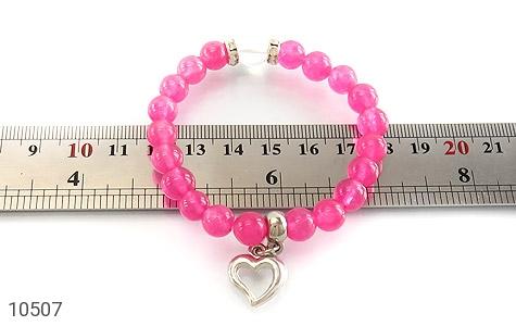 دستبند جید صورتی آویز قلب زنانه - تصویر 4