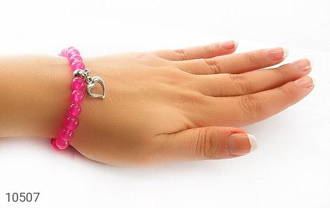 دستبند جید صورتی آویز قلب زنانه - عکس 5