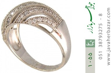 انگشتر نقره آب رودیوم سفید زنانه - کد 1055