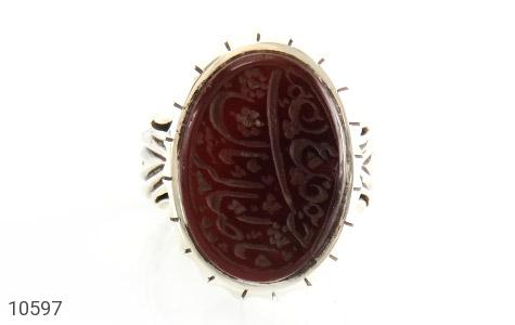انگشتر عقیق یمن حکاکی یا صاحب الزمان استاد سید رکاب دست ساز - تصویر 2