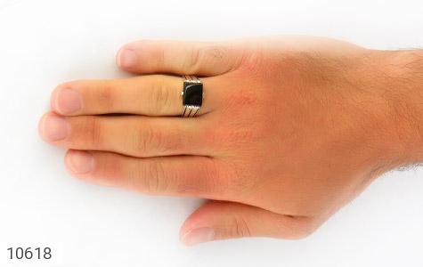 انگشتر عقیق سیاه خوش رنگ صفوی مردانه - عکس 7