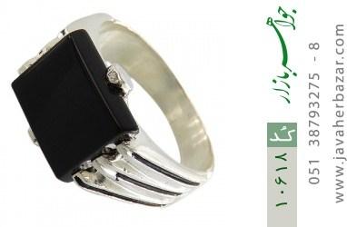 انگشتر عقیق سیاه خوش رنگ صفوی مردانه - کد 10618