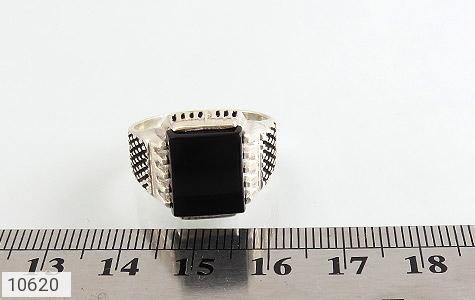 انگشتر عقیق سیاه خوش رنگ - تصویر 6