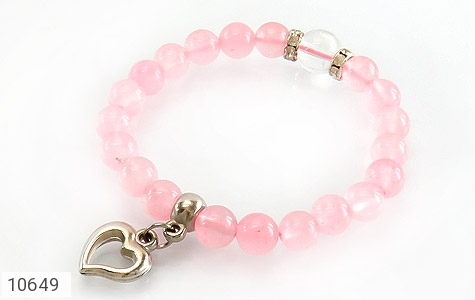 دستبند جید خوش رنگ آویز قلب زنانه - عکس 1