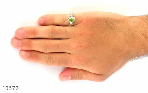 انگشتر زبرجد خوش رنگ طرح دورچنگ مردانه - عکس 7