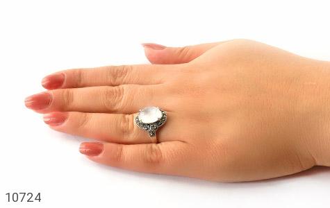 انگشتر مارکازیت و دُر نجف درشت و زیبای زنانه - عکس 5