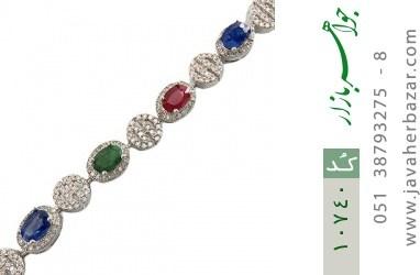 دستبند زمرد و یاقوت طرح مجلسی و فاخر زنانه - کد 10740