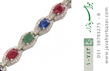 دستبند زمرد و یاقوت پرنسسی و فاخر زنانه - کد 10743