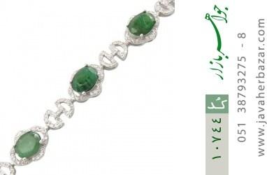 دستبند زمرد طرح اشرافی و درشت زنانه - کد 10744