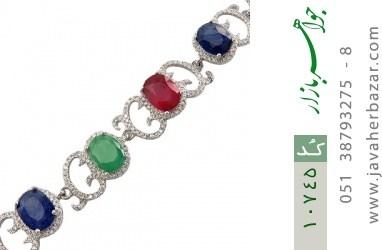 دستبند زمرد و یاقوت طرح دلبرانه درشت و فاخر زنانه - کد 10745