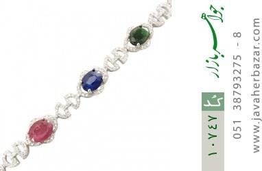 دستبند زمرد و یاقوت درشت طرح مجلسی زنانه - کد 10747