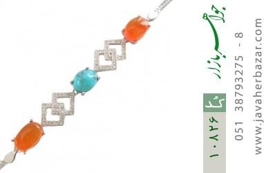 دستبند فیروزه و عقیق یمن - کد 10826