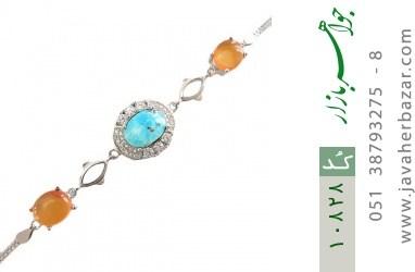 دستبند فیروزه و عقیق یمن - کد 10828
