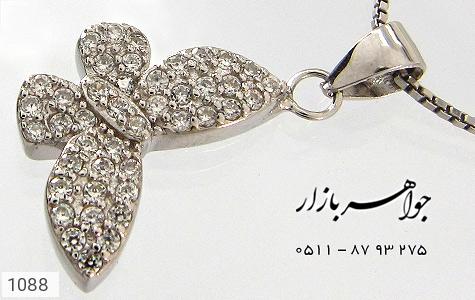 سرویس نقره میکرو آب رودیوم طرح پروانه زنانه - تصویر 2