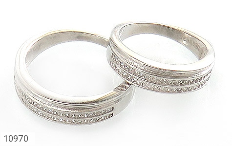 حلقه ازدواج نقره طرح نگار - عکس 1