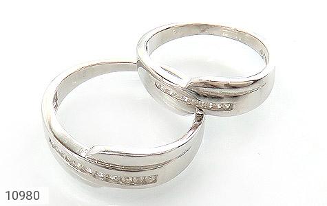 حلقه ازدواج نقره طرح اریب - عکس 1