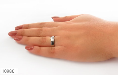 حلقه ازدواج نقره طرح اریب - عکس 7