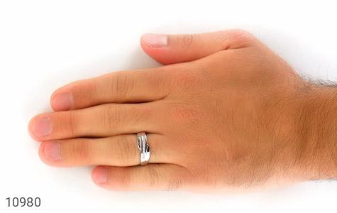 حلقه ازدواج نقره طرح اریب - تصویر 8