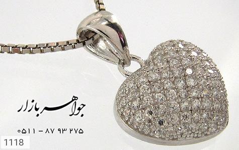 سرویس نقره میکرو آب رودیوم طرح قلب زنانه - عکس 1