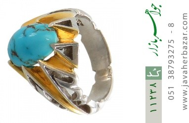 انگشتر فیروزه نیشابوری رکاب دست ساز - کد 11238