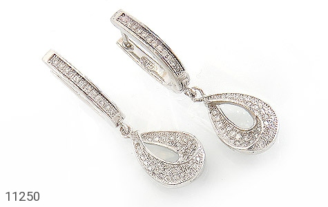 گوشواره نقره طرح جواهری زنانه - عکس 1