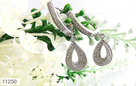 گوشواره نقره طرح جواهری زنانه - عکس 3