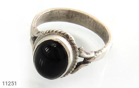 انگشتر عقیق سیاه خوش رنگ زنانه - عکس 1