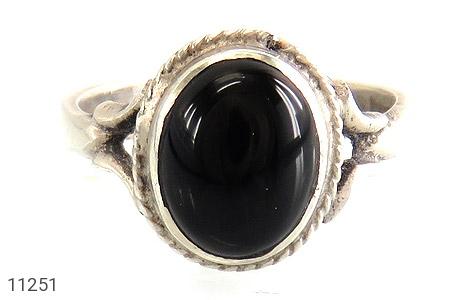 انگشتر عقیق سیاه خوش رنگ زنانه - تصویر 2