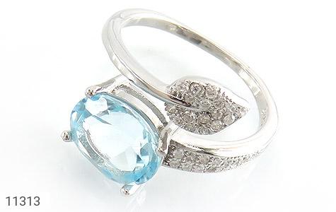 انگشتر توپاز آبی طرح گلبرگ زنانه - عکس 1