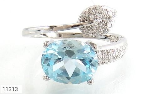 انگشتر توپاز آبی طرح گلبرگ زنانه - تصویر 2