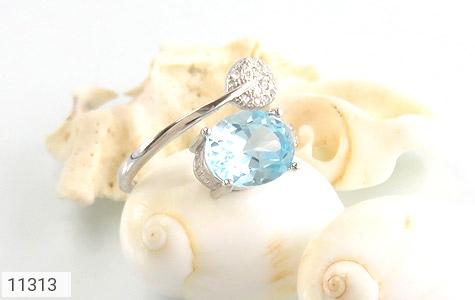انگشتر توپاز آبی طرح گلبرگ زنانه - عکس 5