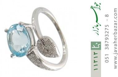 انگشتر توپاز آبی طرح گلبرگ زنانه - کد 11313
