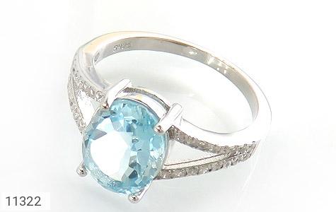 انگشتر توپاز آبی طرح نگار زنانه - عکس 1