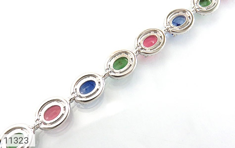 دستبند زمرد و یاقوت درشت و سلطنتی زنانه - تصویر 2
