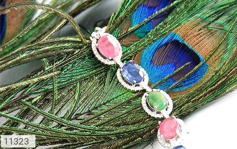 دستبند زمرد و یاقوت درشت و سلطنتی زنانه - تصویر 4