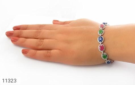 دستبند زمرد و یاقوت درشت و سلطنتی زنانه - تصویر 6