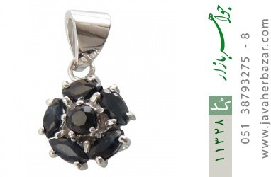 مدال یاقوت کبود طرح گل زنانه - کد 11328