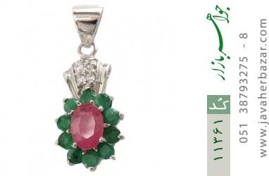 مدال زمرد و یاقوت خوش رنگ طرح فوژان زنانه - کد 11361