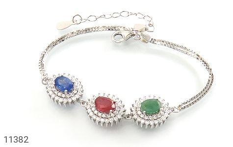 دستبند یاقوت و زمرد ارزشمند طرح شمس زنانه - عکس 1