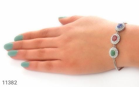 دستبند یاقوت و زمرد ارزشمند طرح شمس زنانه - عکس 5
