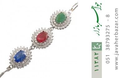 دستبند یاقوت و زمرد ارزشمند طرح شمس زنانه - کد 11382