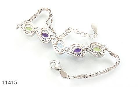 دستبند توپاز و آمتیست و زبرجد ارزشمند طرح ملودی زنانه - تصویر 2