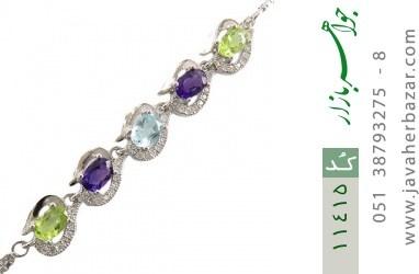 دستبند توپاز و آمتیست و زبرجد ارزشمند طرح ملودی زنانه - کد 11415