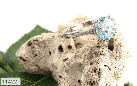 انگشتر توپاز آبی درخشان زنانه - عکس 5