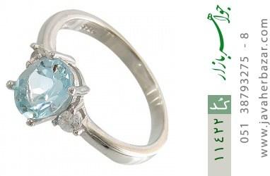 انگشتر توپاز آبی درخشان زنانه - کد 11422