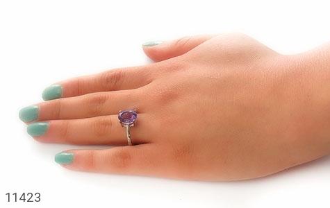 انگشتر آمتیست درخشان طرح مهرخ زنانه - عکس 7